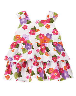 Toddler Girls White Tropical Flower Tropical Flower Tiered Top by Gymboree