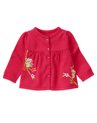 Tropical Pink Embroidered Koala Sweater Cardigan by Gymboree