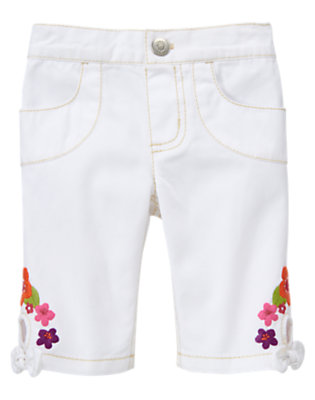 White Embroidered Flower Pant by Gymboree