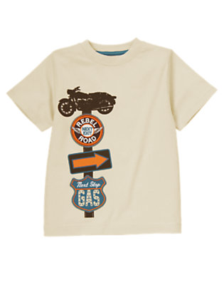 Light Khaki Rebel Road Sign Tee by Gymboree