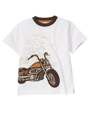 White Motorcycle Map Tee by Gymboree