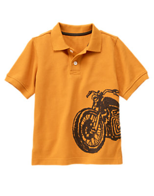 Highway Orange Motorcycle Pique Polo Shirt by Gymboree