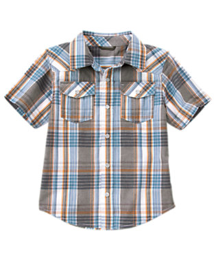 Dusty Blue Plaid Snap Pocket Plaid Shirt by Gymboree