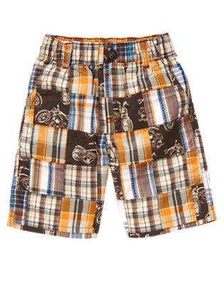 Dusty Blue Patchwork Motorcycle Plaid Patchwork Short by Gymboree