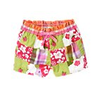 Embroidered Flower Patchwork Bermuda Short