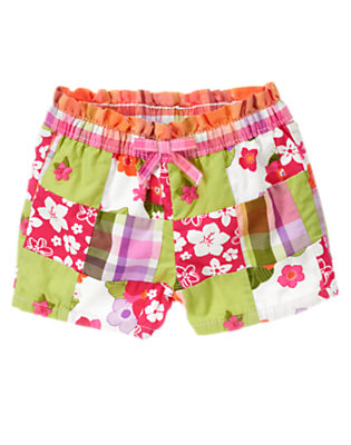 Tropical Pink Floral Patchwork Embroidered Flower Patchwork Bermuda Short by Gymboree