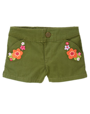Moss Green Embroidered Flower Short by Gymboree