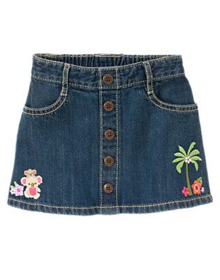 Toddler Girls Denim Embroidered Koala Denim Skirt by Gymboree