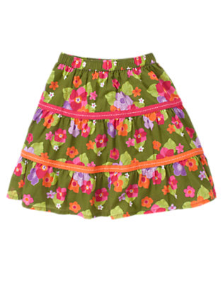 Toddler Girls Moss Green Floral Pickstitched Ribbon Flower Skirt by Gymboree