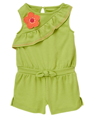 Toddler Girls Palm Green Flower Pickstitched Ruffle Romper by Gymboree