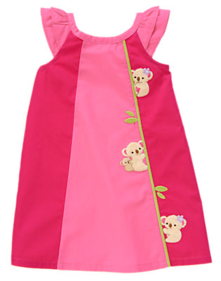 Toddler Girls Tropical Pink Embroidered Koala Colorblock Dress by Gymboree