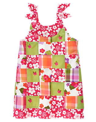 Tropical Pink Floral Patchwork Embroidered Flower Patchwork Dress by Gymboree