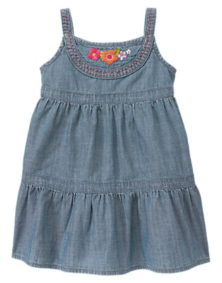 Chambray Embroidered Flower Chambray Dress by Gymboree