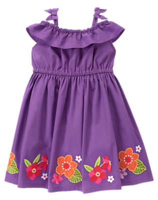 Toddler Girls Purple Orchid Orchid Flower Ruffle Dress by Gymboree