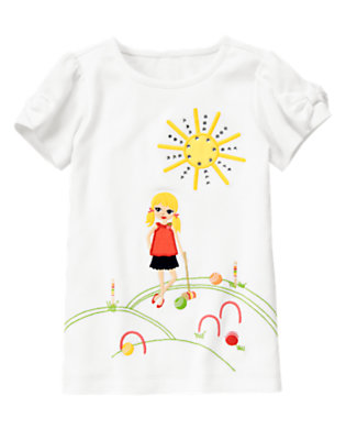 White Gem Croquet Girl Tee by Gymboree