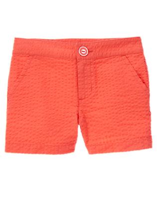 Bright Coral Seersucker Short by Gymboree
