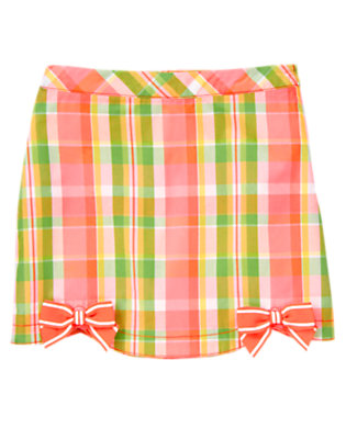 Girls Bright Coral Plaid Bow Scalloped Plaid Skort by Gymboree