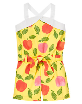 Yellow Peach Belted Peach Romper by Gymboree