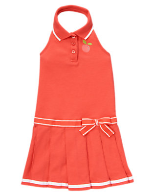 Girls Bright Coral Gem Peach Pique Halter Dress by Gymboree