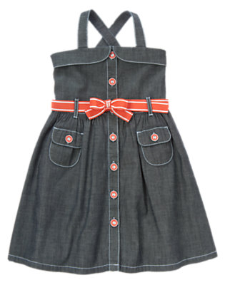 Girls Chambray Belted Chambray Dress by Gymboree