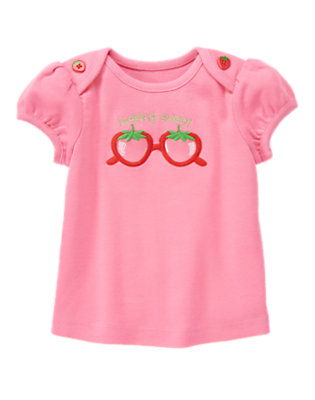 Strawberry Pink Strawberry Glasses Tee by Gymboree