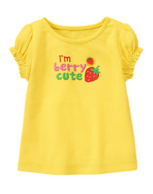 Sunshine Yellow I'm Berry Cute Button Tee by Gymboree