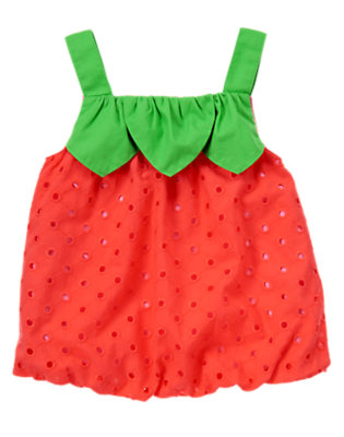 Toddler Girls Summer Coral Strawberry Eyelet Bubble Top by Gymboree