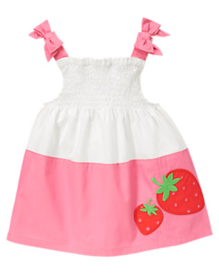 Strawberry Pink Strawberry Colorblock Smocked Top by Gymboree