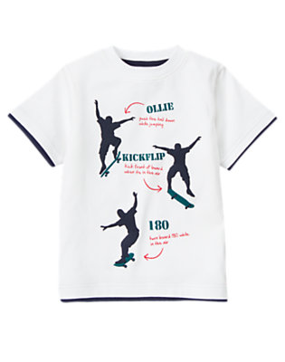 White Skateboard Tricks Tee by Gymboree