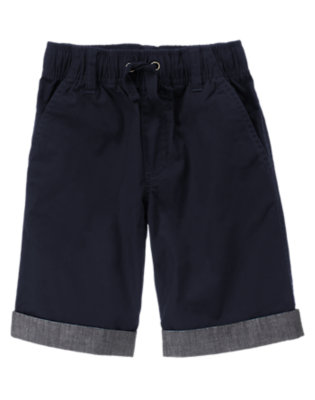 Navy Blue Chambray Cuffed Drawstring Short by Gymboree