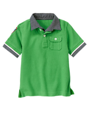 Parkway Green Chambray Tipped Pique Polo Shirt by Gymboree