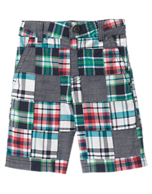 Chambray Blue Patchwork Chambray Plaid Patchwork Short by Gymboree