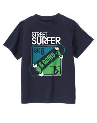 Boys True Navy Street Surfer Skateboard Tee by Gymboree