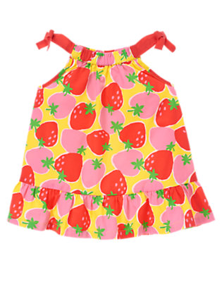 Sunshine Yellow Strawberry Strawberry Bow Top by Gymboree