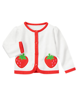 Toddler Girls White Strawberry Sweater Cardigan by Gymboree