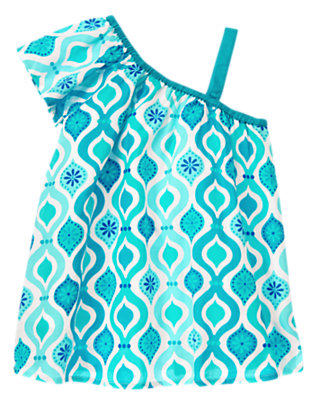 Girls White/Aqua Tile Tile Print One Shoulder Top by Gymboree