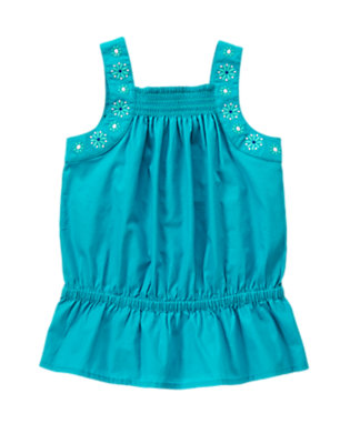 Girls Aqua Blue Embroidered Flower Top by Gymboree