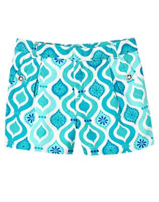 Girls White/Aqua Tile Tile Print Linen Blend Short by Gymboree