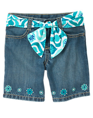 Denim Embroidered Flower Belted Bermuda Jean Short by Gymboree