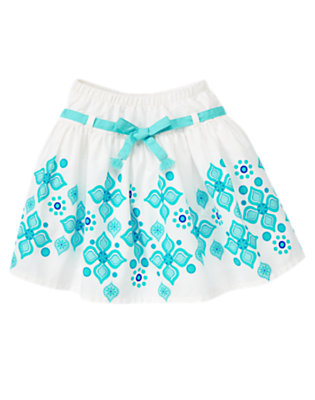 Girls White Tile Print Belted Skirt by Gymboree