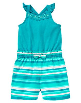Girls Aqua Blue Embroidered Flower Stripe Romper by Gymboree