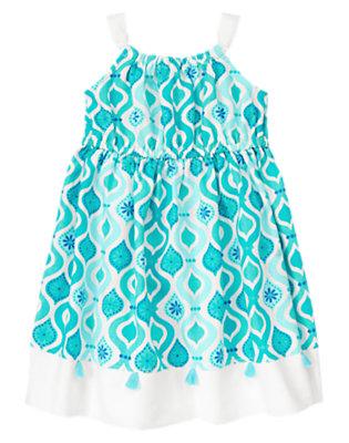 White/Aqua Tile Tassel Tile Print Linen Blend Dress by Gymboree