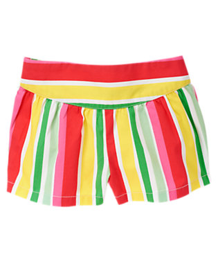 Summer Coral Stripe Shirred Stripe Short by Gymboree