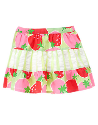 Toddler Girls Melon Green Strawberry Strawberry Mixed Print Skirt by Gymboree