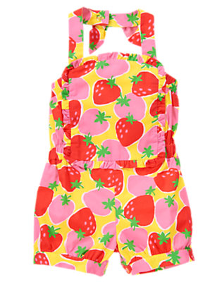 Toddler Girls Sunshine Yellow Strawberry Strawberry Bib Halter Romper by Gymboree