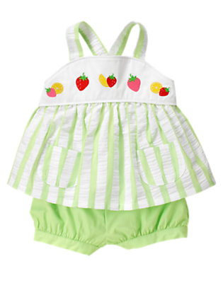 Toddler Girls Melon Green Stripe Strawberry Stripe Two-Piece Set by Gymboree