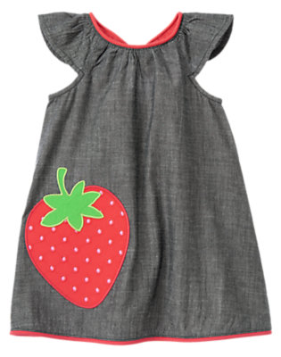 Chambray Strawberry Chambray Dress by Gymboree