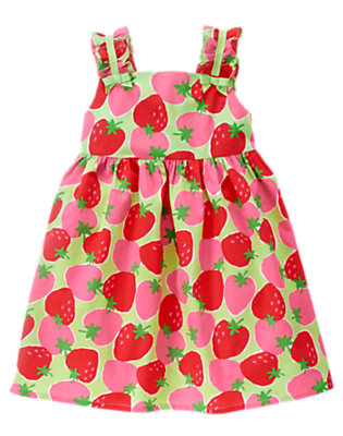 Toddler Girls Melon Green Strawberry Strawberry Bow Dress by Gymboree