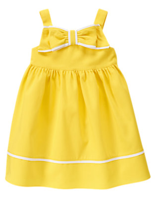 Toddler Girls Sunshine Yellow Bow Diamond Pique Dress by Gymboree