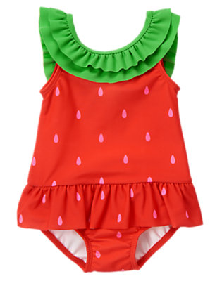 Summer Coral Strawberry One-Piece Swimsuit by Gymboree
